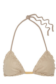 Vix Laser-cut faux suede triangle bikini top