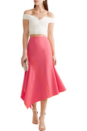 Jason Wu Asymmetric silk-trimmed stretch-wool midi skirt