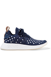 adidas Originals NMD_R2 leather-trimmed polka-dot Primeknit sneakers