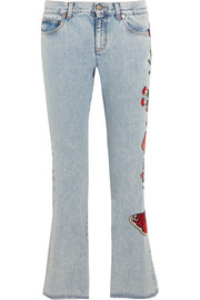 Appliquéd cropped mid-rise flared jeans