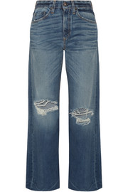Basin distressed wide-leg jeans