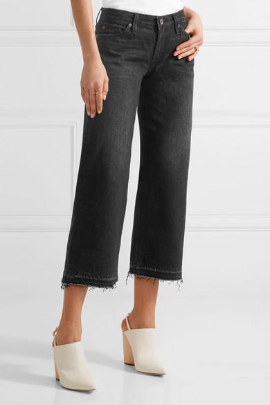 SIMON MILLER W005 Bora verkürzte, halbhohe Jeans mit weitem Bein und Fransen