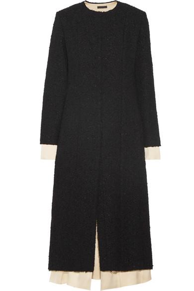 The Row - Amandla Satin-trimmed Bouclé Coat - Black