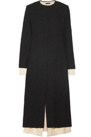 The Row Amandla satin-trimmed bouclé coat