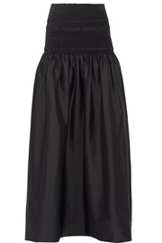 The Row Cial smocked stretch-poplin maxi skirt
