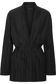The Row Kim plissé stretch-jersey cardigan