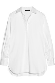 The Row Patou pleated cotton-blend poplin shirt