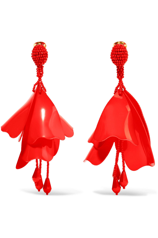 Oscar de la Renta Large Impatiens resin clip earrings