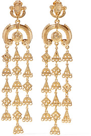 Ornate gold-tone clip earrings