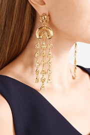 Oscar de la Renta Ornate gold-tone clip earrings