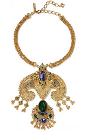 Oscar de la Renta Gold-plated Swarovski crystal necklace