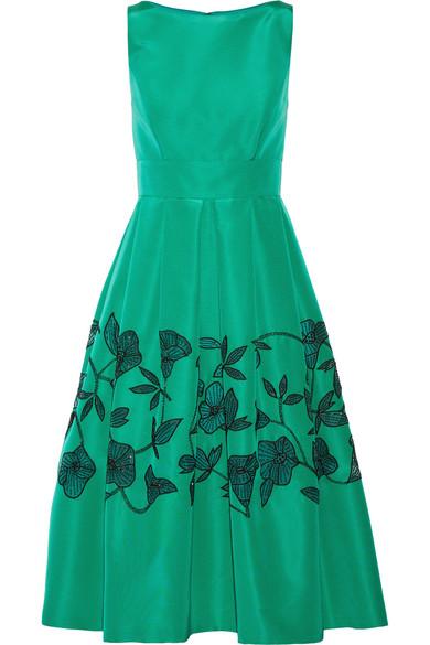 Lela Rose - Embellished Laser-cut Silk-faille Dress - Jade