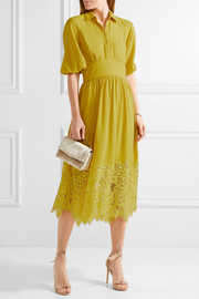 Corded lace-paneled crepe dress