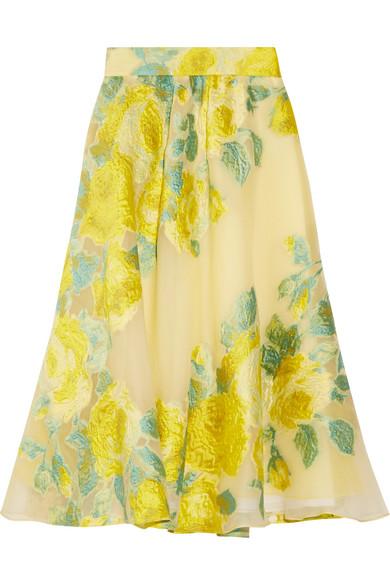 Lela Rose - Floral Fil Coupé Organza Midi Skirt - Bright yellow