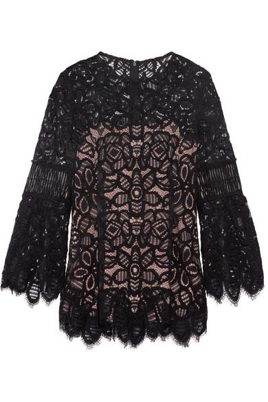 Lela Rose - Corded Lace Top - Black
