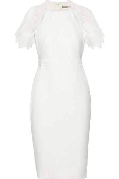 Lela Rose - Corded Lace-trimmed Crepe Dress - White