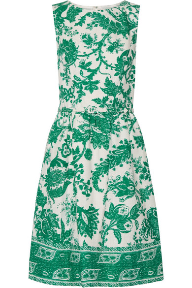 Oscar de la Renta - Belted Printed Stretch-cotton Canvas Dress - Jade