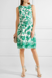 Oscar de la Renta Belted printed stretch-cotton canvas dress