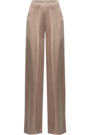 Pleated silk-charmeuse wide-leg pants