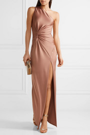 Denise one-shoulder stretch-satin gown
