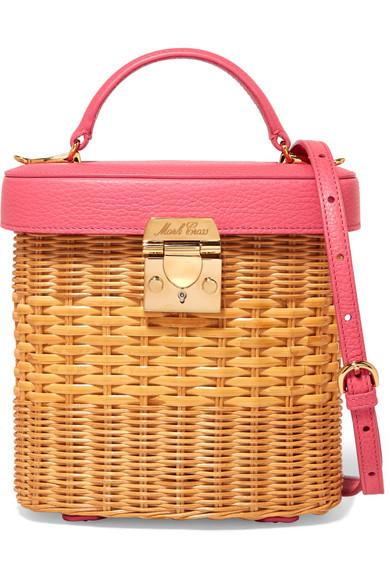 Mark Cross - Benchley Textured Leather-trimmed Rattan Shoulder Bag - Pink