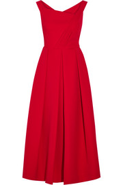 Finella pleated stretch-crepe midi dress