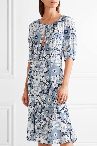 michael kors collection floral print silk georgette dress net a porter com. Black Bedroom Furniture Sets. Home Design Ideas