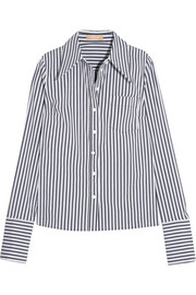 Striped stretch cotton-blend poplin shirt
