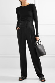 Tibi Lace-up ribbed-knit sweater