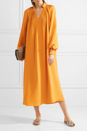 Tibi Plissé silk crepe de chine midi dress