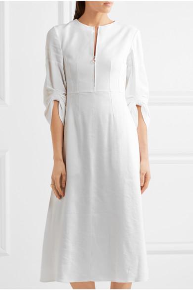 3dce61b608 Tibi. Marta ruched linen-blend midi dress