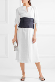 Tibi Marta ruched linen-blend midi dress