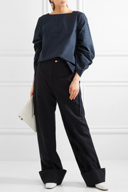 Tibi Pintucked cotton-poplin top