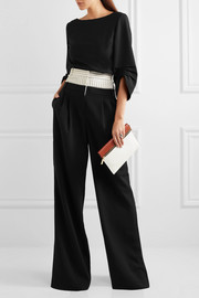 Tibi Striped linen-blend and crepe wide-leg pants