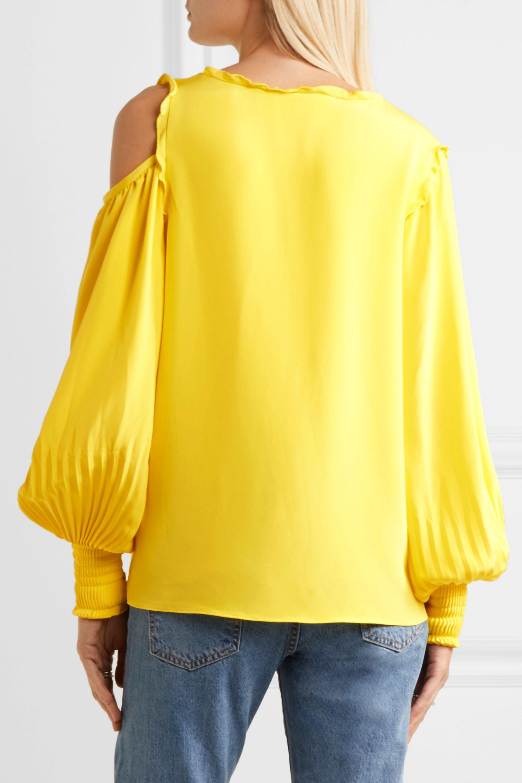 Tibi Cutout ruffle-trimmed silk crepe de chine blouse