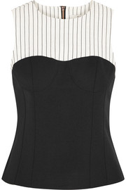 Cecil striped linen-blend and stretch-crepe top