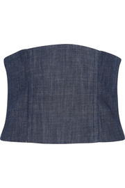Mesh-paneled denim corset