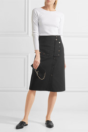 Tibi Embellished cotton-blend cady skirt