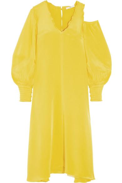 Oversized cutout silk crepe de chine midi dress