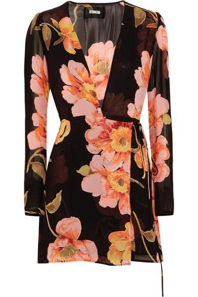 Reformation - Floral-print Georgette Wrap Mini Dress - Black