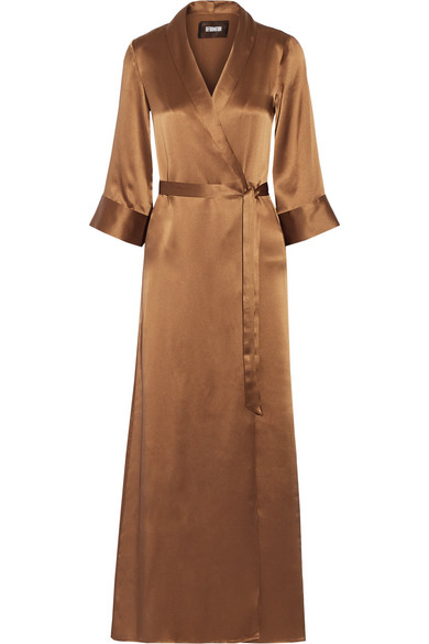 Reformation - Silk Wrap Maxi Dress - Bronze