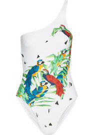 Norma Kamali Mio one-shoulder printed swimsuit