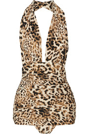 Bill ruched leopard-print halterneck swimsuit