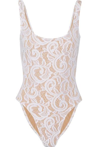 Norma Kamali - Mio Stretch-lace Swimsuit - White