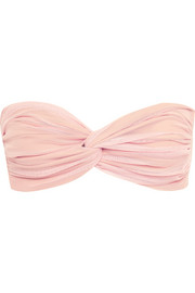 Jonny D ruched stretch-tulle bandeau bikini top