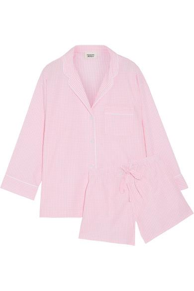 Sleepy Jones - Marina And Paloma Gingham Cotton Pajama Set - Baby pink