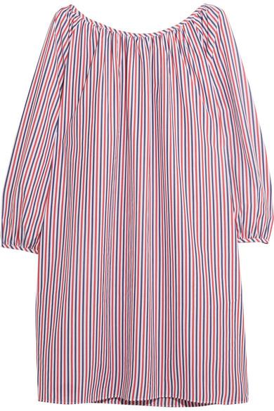Sleepy Jones - Lily Striped Cotton-piqué Nightdress - Red