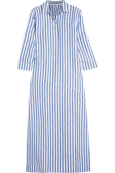 Sleepy Jones - Celia Striped Linen Kaftan - Sky blue
