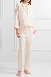 Marina striped silk-charmeuse pajama set