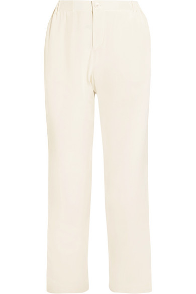 Sleepy Jones - Marina Grosgrain-trimmed Silk Crepe De Chine Pajama Pants - Ivory